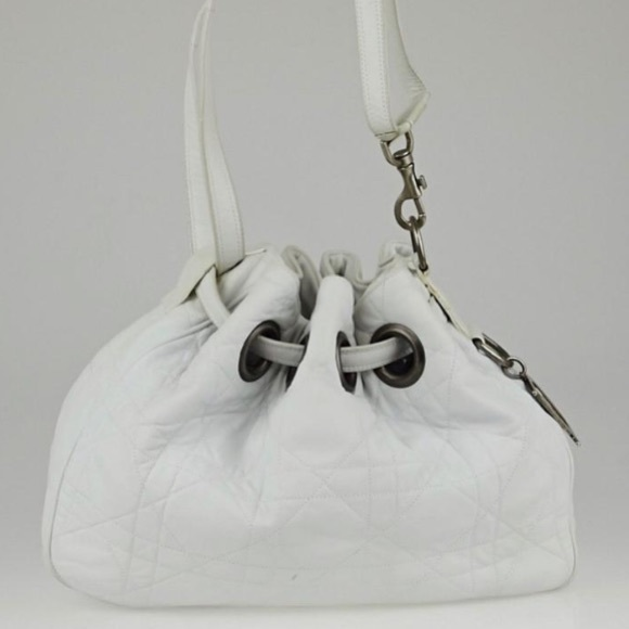Dior Handbags - Dior Drawstring Cannage Quilted White Leather Hobo
